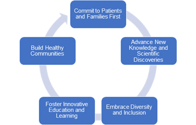 A graphic depiction of our goals – Commit to Patients and Families First, Advance New Knowledge and Scientific Discoveries, Embrace Diversity and Inclusion, Foster Innovative Education and Learning, and Build Healthy Communities – indicates their interconnected circular nature.